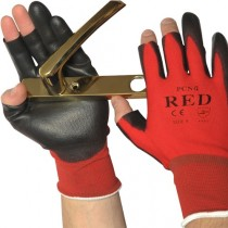 PCN-12 3 Digit PU Coated Palm Red Safety Gloves