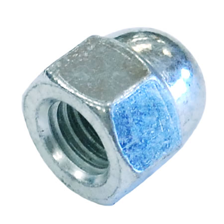 M6 Dome Nut Mild Steel Bright Zinc Plated