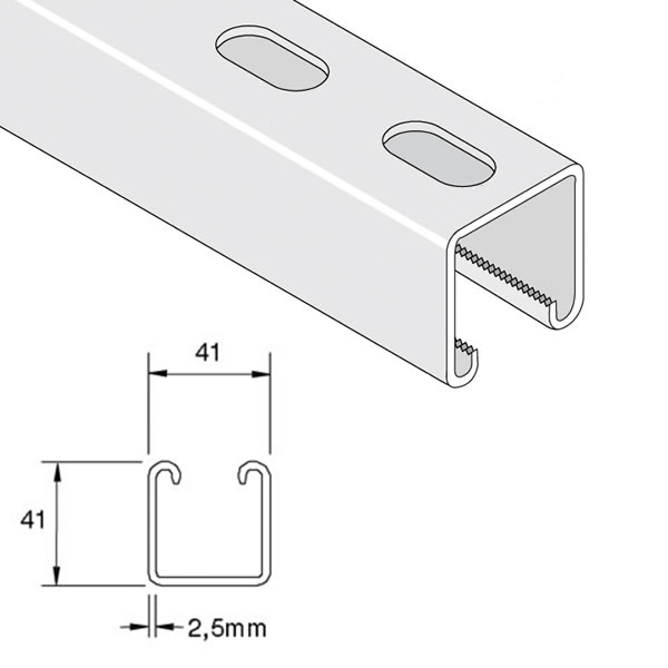 Unistrut P1000T Deep Slotted Channel x 3m