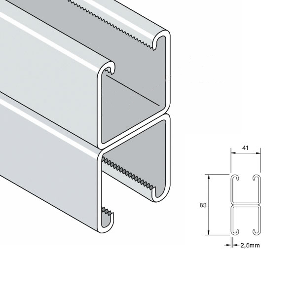 Unistrut P1001 Deep Back To Back Plain Channel 41 x 41 x 2 5mm x 6m