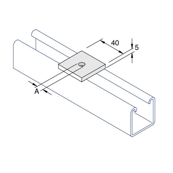 Unistrut P1019 Flat Square Plate M6/M8