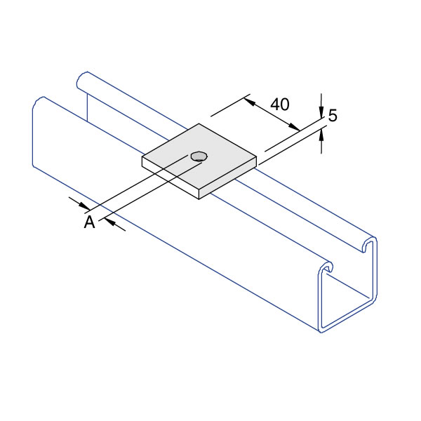 Unistrut P1020 Flat Square Plate M10 / M12