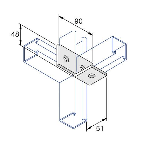 Unistrut P1037 Left Hand Fitting Bracket