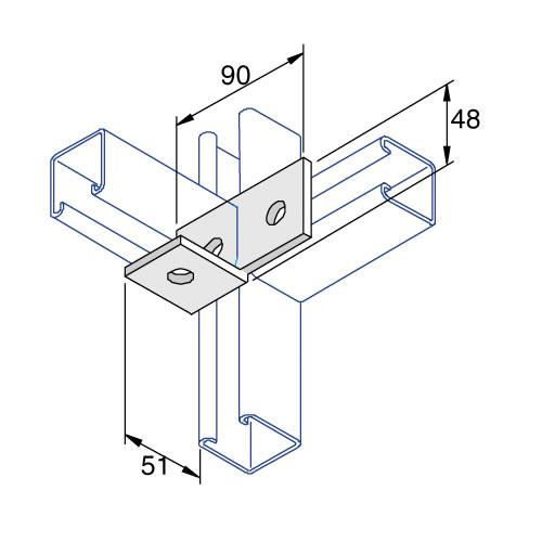 Unistrut P1038 Right Hand Fitting Bracket