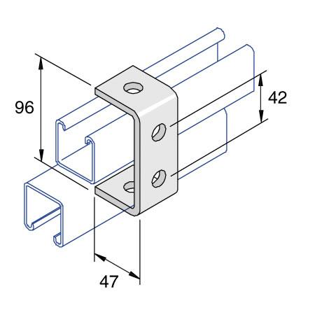 Unistrut P1044 4 Hole C Bracket 96mm