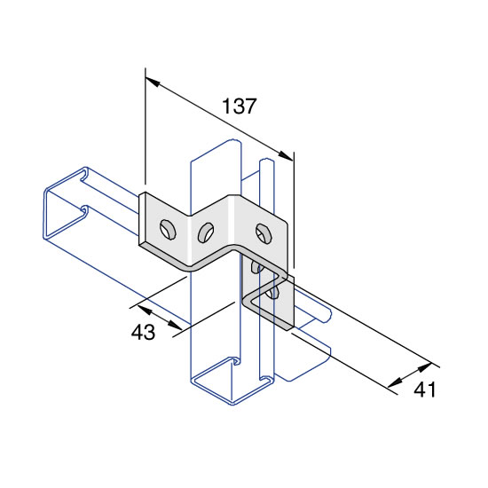 Unistrut P1047 U Bracket 4 Hole