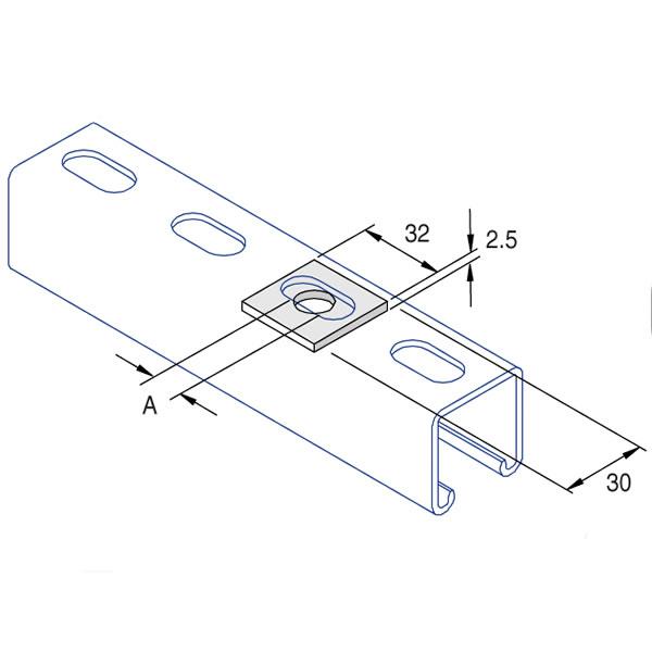 Unistrut P1063/08 Flat Square Plate
