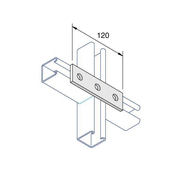Unistrut P1066 Flat Square Plate 3 Hole