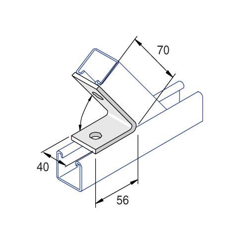 Unistrut P1186 45 Degree Angle Bracket 2 Hole