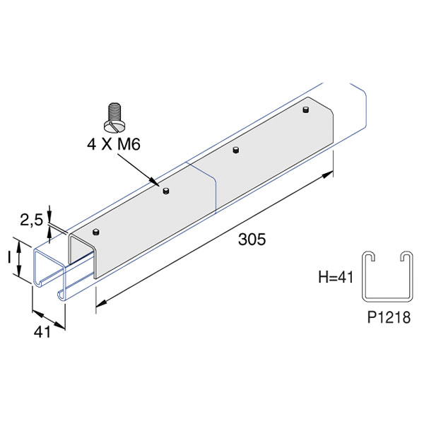 Unistrut P1218 41 x 41 x 200mm Internal