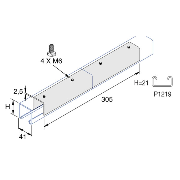 Unistrut P1219 41 x 21 x 200mm Internal