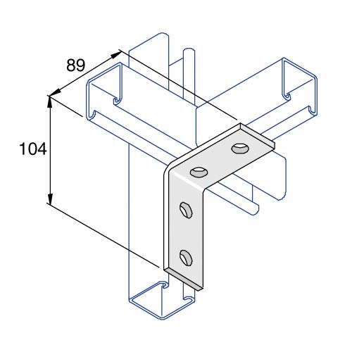Unistrut P1325 90 Degree Angle Bracket 4 Hole