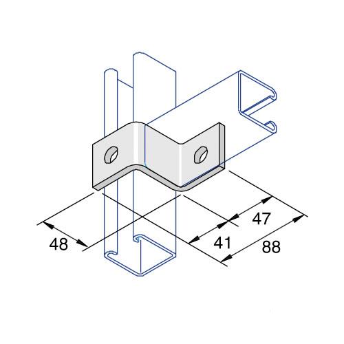Unistrut P1347 2 Hole Deep Z Fitting