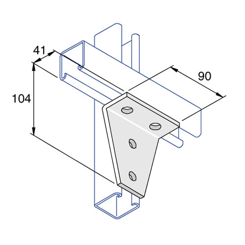 Unistrut P1359 90 Degree Angle Bracket 4 Hole