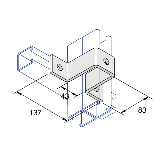 Unistrut P1546 45 Degree Angle Bracket 2 Hole Hot Dipped