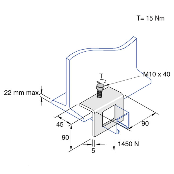 Unistrut P1796 Angle Beam Clamp 90mm