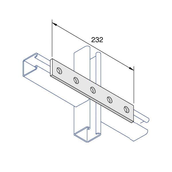 Unistrut P1941 Flat Square Plate 5 Hole