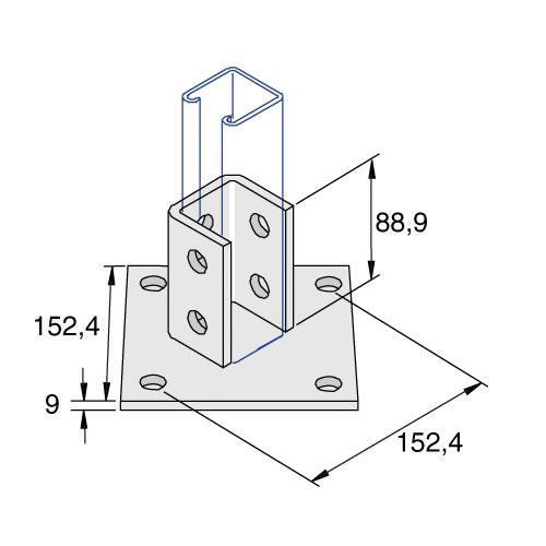Unistrut P2072-A 4 + 6 Hole Base Plate