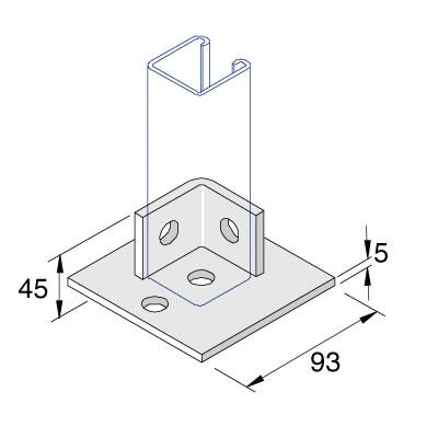 Unistrut P2072-S1 2 + 2 Hole Base Plate
