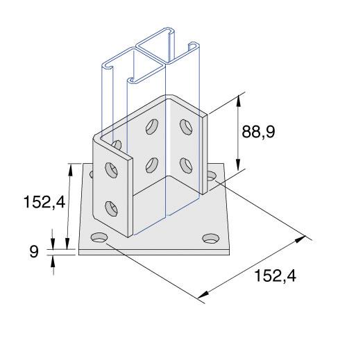 Unistrut P2073A 4 + 8 Hole Base Plate