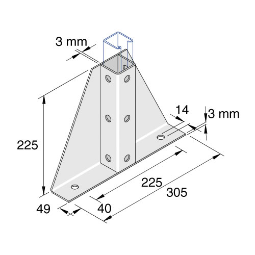 Unistrut P2348S1 2 + 9 Hole Wing Fitting