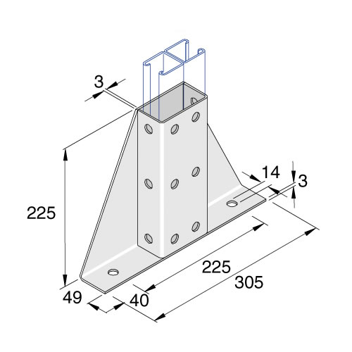 Unistrut P2348S2 2 + 12 Hole Wing Fitting