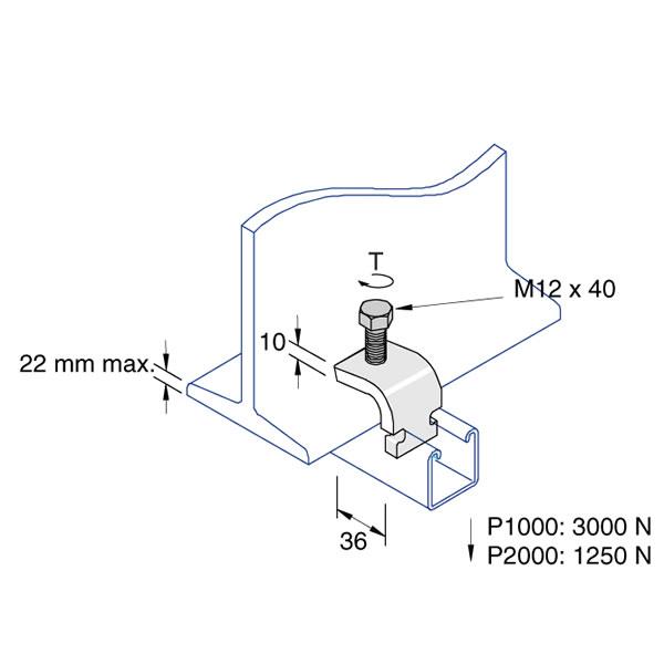 Unistrut P2489 Universal Beam Clamp Hot Dipped Galvanised