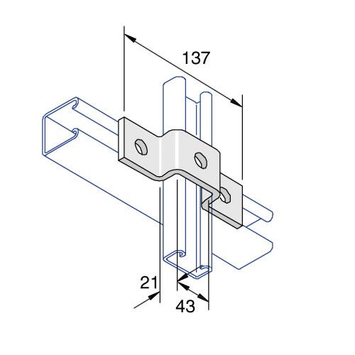 Unistrut P4047 U Fitting Bracket 3 Hole