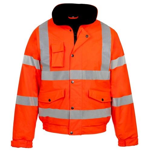 Hi Visibility Orange Bomber Safety Jacket
